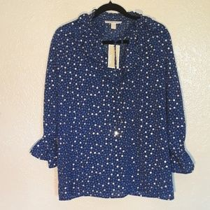 Michael Kors NWT Long Sleeve Blue and Silver Top